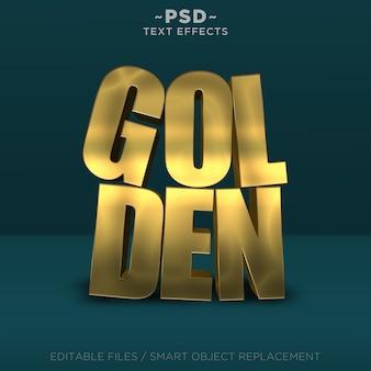 Texto editable de efectos de oro realistas 3d