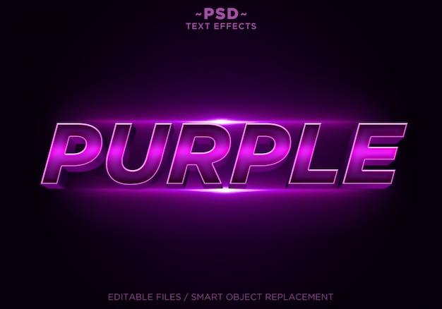 Texto editable de efectos púrpuras 3d
