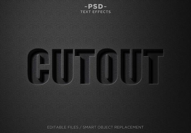 Texto editable de efectos de recorte negro 3d