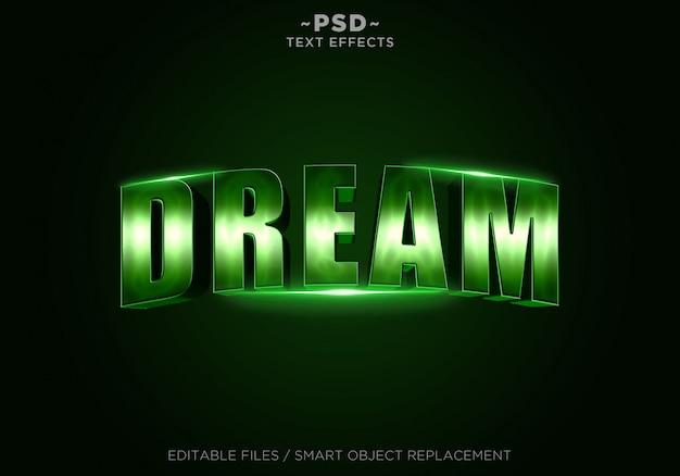 Texto editable de los efectos verdes del sueño 3d