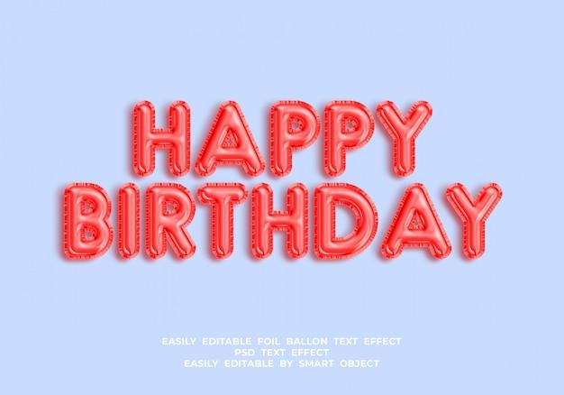 Texto de feliz cumpleaños en estilo globo 3d