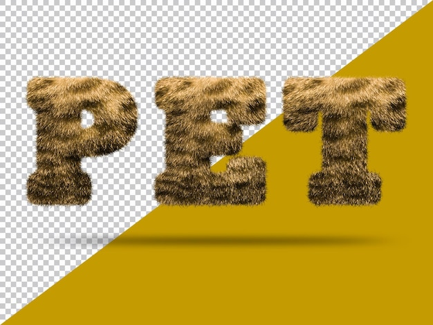 Texto de mascota con piel 3d realista