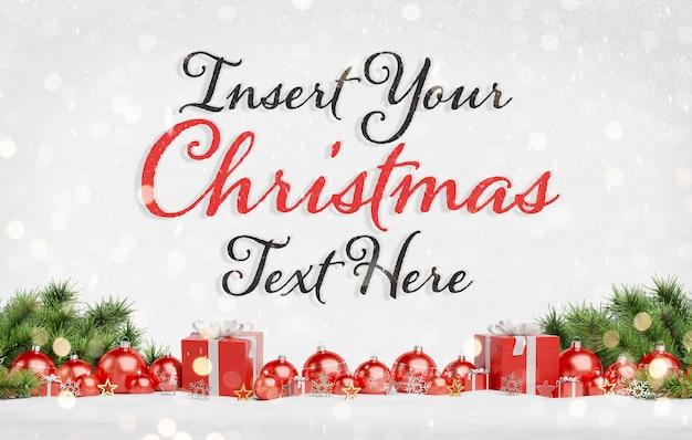 Texto navideño con adornos rojos