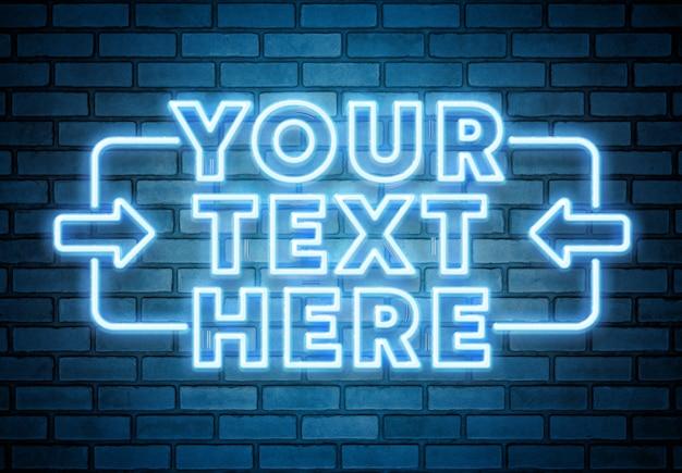 Texto de neón azul en maqueta de pared de ladrillo