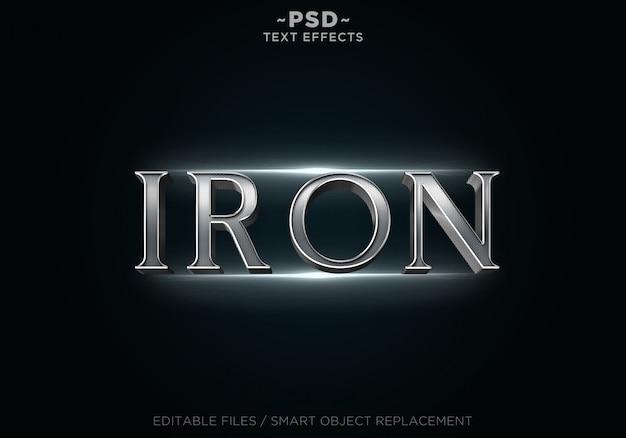 Texto de plantilla de efectos de acero de hierro 3d