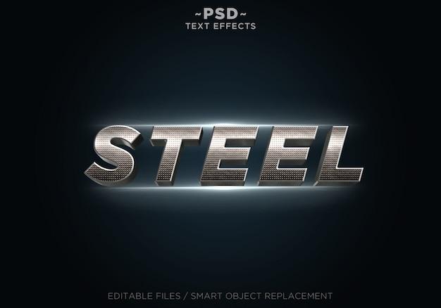 Texto de plantilla de efectos de acero real 3d