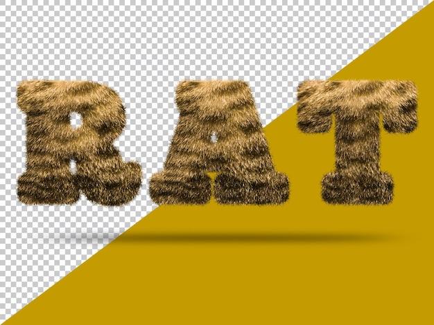 Texto de rata con piel 3d realista