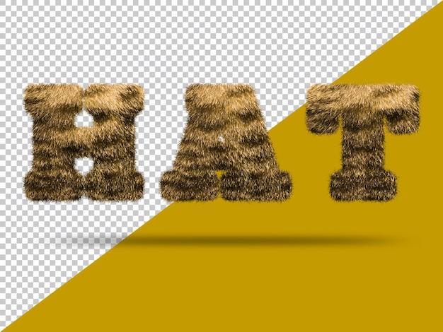 Texto de sombrero con piel 3d realista