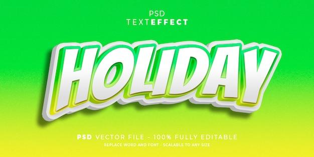 Texto de vacaciones y plantilla editable de estilo de efecto de fuente premium