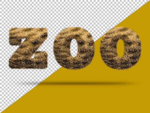Texto de zoológico con piel 3d realista