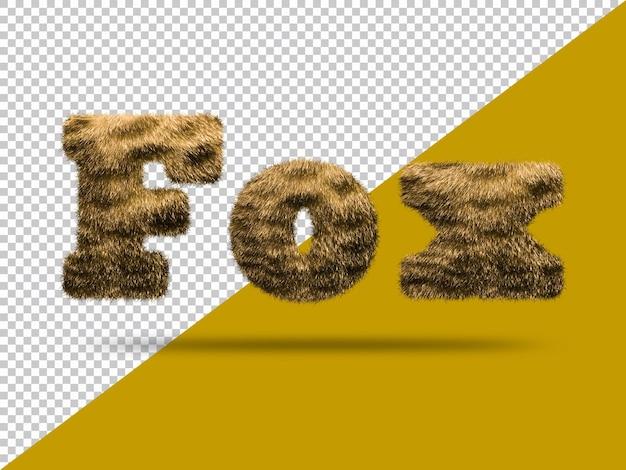 Texto de zorro con piel 3d realista