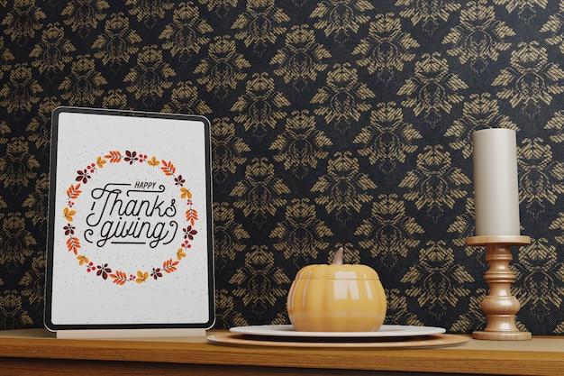 Thanksgiving-bericht op elektronisch apparaat