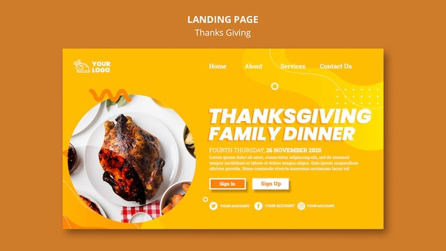 Thanksgiving concept bestemmingspagina sjabloon