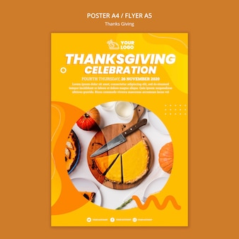 Thanksgiving concept poster sjabloon