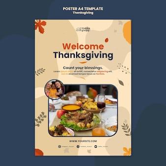 Thanksgiving day afdruksjabloon met bladeren