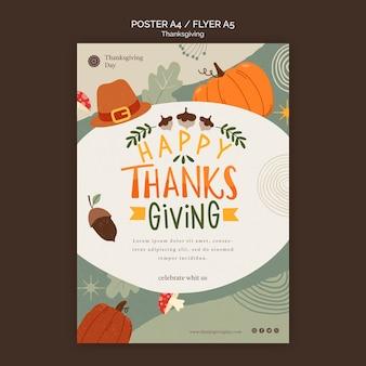 Thanksgiving day-afdruksjabloon met herfstdetails