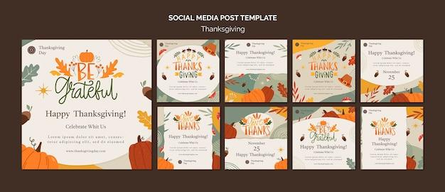 Thanksgiving day instagram posts collectie met herfstdetails