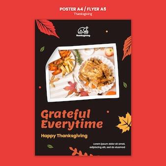 Thanksgiving day-postersjabloon met herfstbladeren