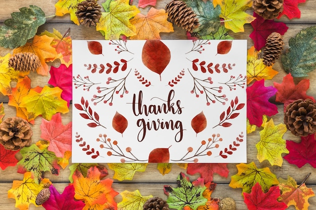 Thanksgiving mockup met dekking of papier