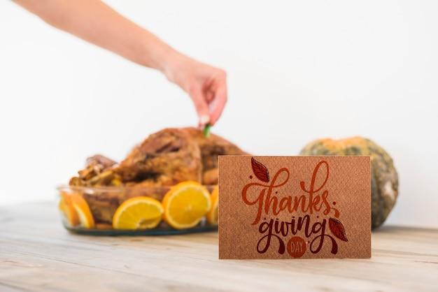Thanksgiving mockup met wenskaart
