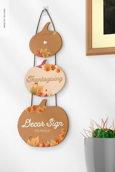 Thanksgiving muur decor teken mockup