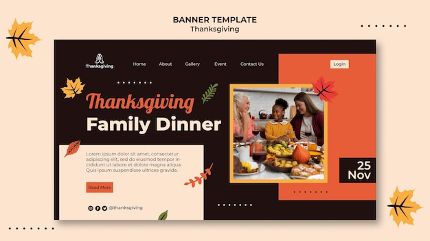 Thanksgiving ontwerpsjabloon van banner