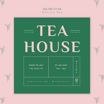 Thee matcha huis vierkante flyer