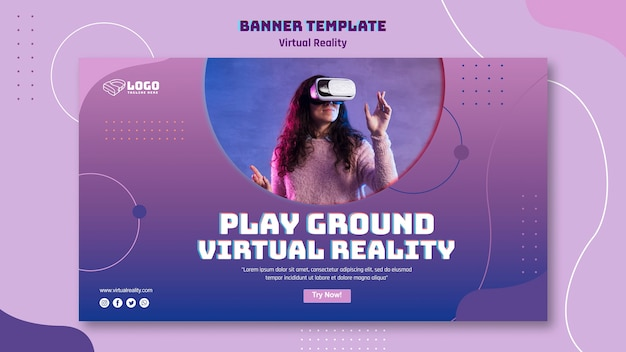 Thema van de banner van de virtuele realiteit banner