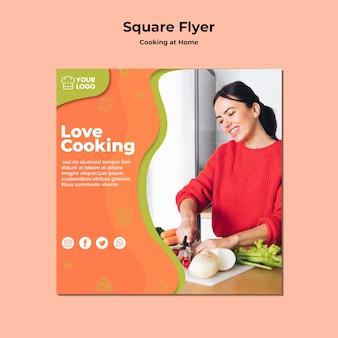Thuis vierkante flyer koken