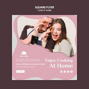 Thuis vierkante flyer-sjabloon koken