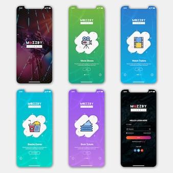 Ticket boeking mobile app ui kit Premium Psd