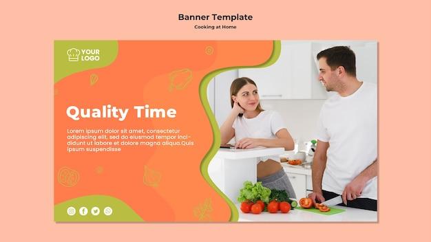 Tiempo de calidad y plantilla de banner de cocina