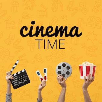 Tiempo de cine con gafas 3d y palomitas de maíz