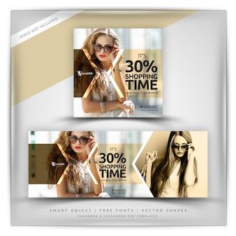 Tiempo de compras instagram y facebook banner
