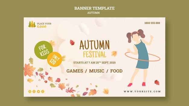 Tiempo de diversión en el festival de otoño para plantilla de banner para niños