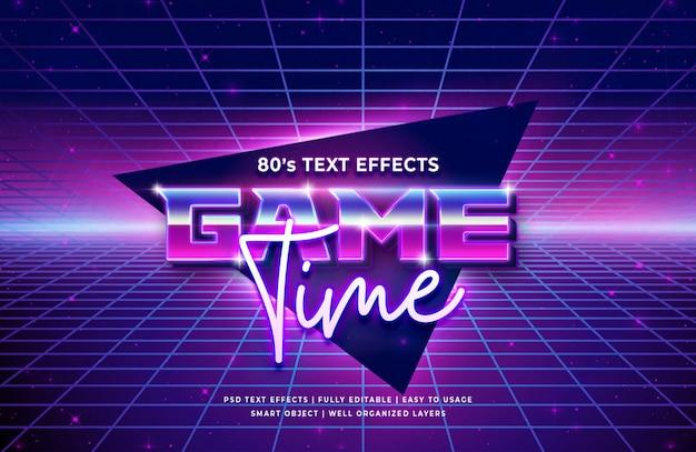 Tiempo de juego efecto de texto retro de los 80