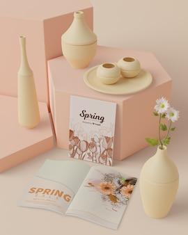 Tiempo de primavera con concepto de decoraciones 3d