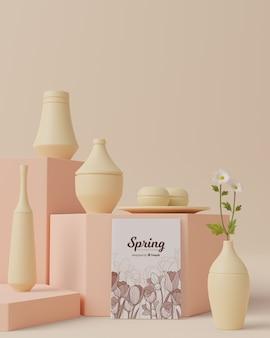Tiempo de primavera con decoraciones en concepto 3d