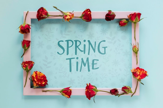 Tiempo de primavera con marco floral