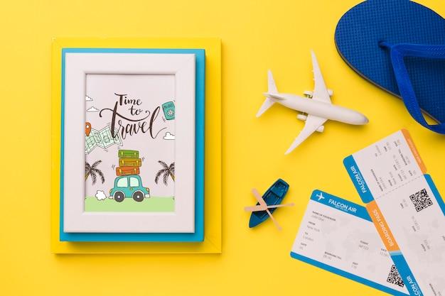 Tiempo de viajar, marco y elementos relacionados con vacaciones