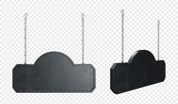Tienda colgante etiqueta de letrero de metal negro con cadena aislada