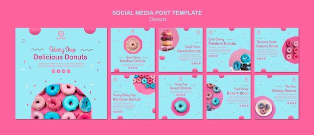 Tienda de donas de panadería publicación en redes sociales
