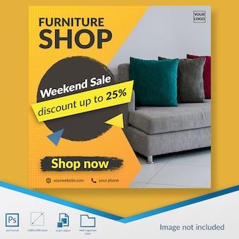 Tienda de muebles oferta de descuento de fin de semana oferta banner de plantilla de publicación de redes sociales