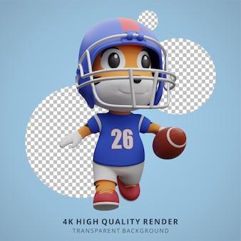 Tigre animal jugador de fútbol americano 3d ilustración de personaje lindo