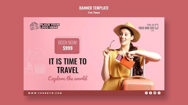 Tijd om banner met foto te reizen