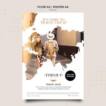 Tijd om goedkope poster sjabloon te reizen