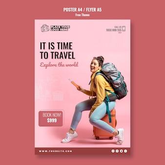 Tijd om poster sjabloon met foto te reizen