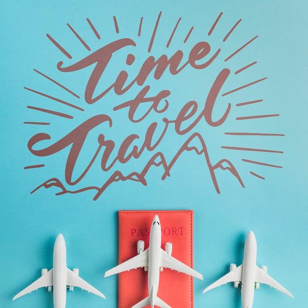 Tijd om te reizen, motiverende belettering citaat voor vakantie reizen concept