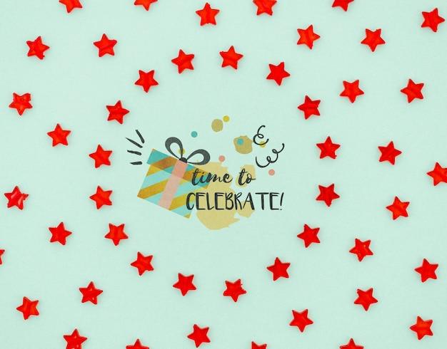 Tijd om te vieren met confetti rode sterren