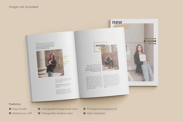 Tijdschriftmodel geopend met een bovenaanzicht van de omslag